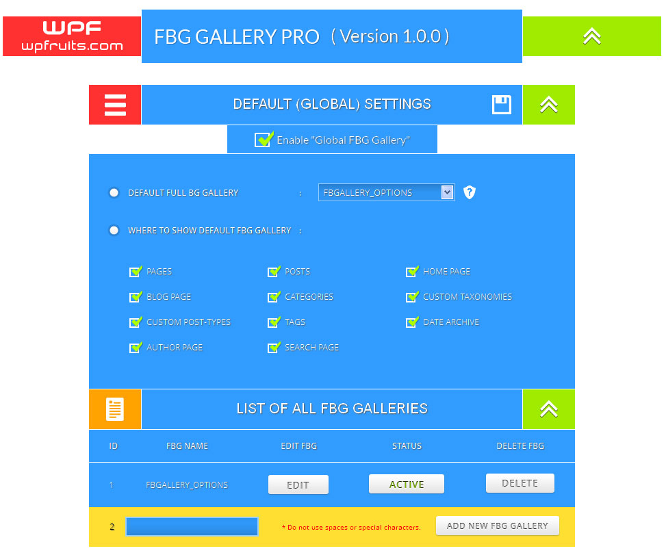 Full width background gallery wordpress Plugin settings