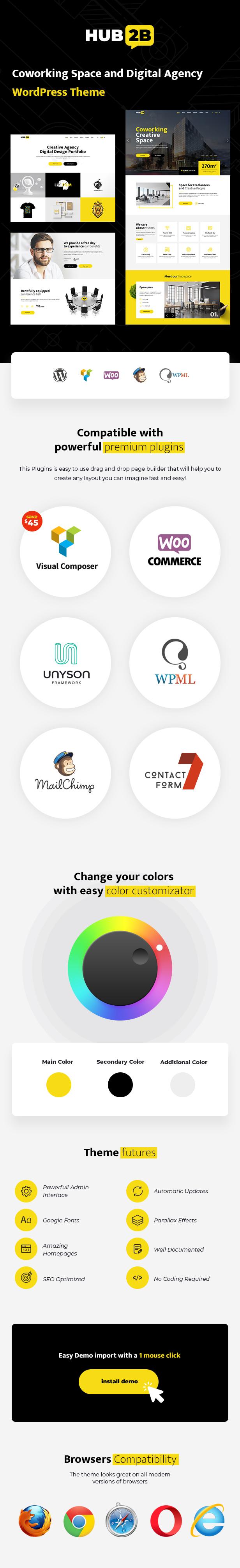 Co-working space wordpress theme