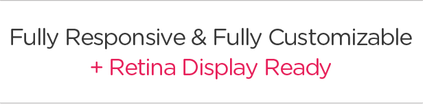 Fully Responsive / Fully Customizable / Retina Display Ready