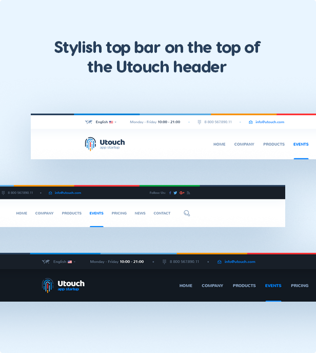Stylish top bar on the top of the Utouch header