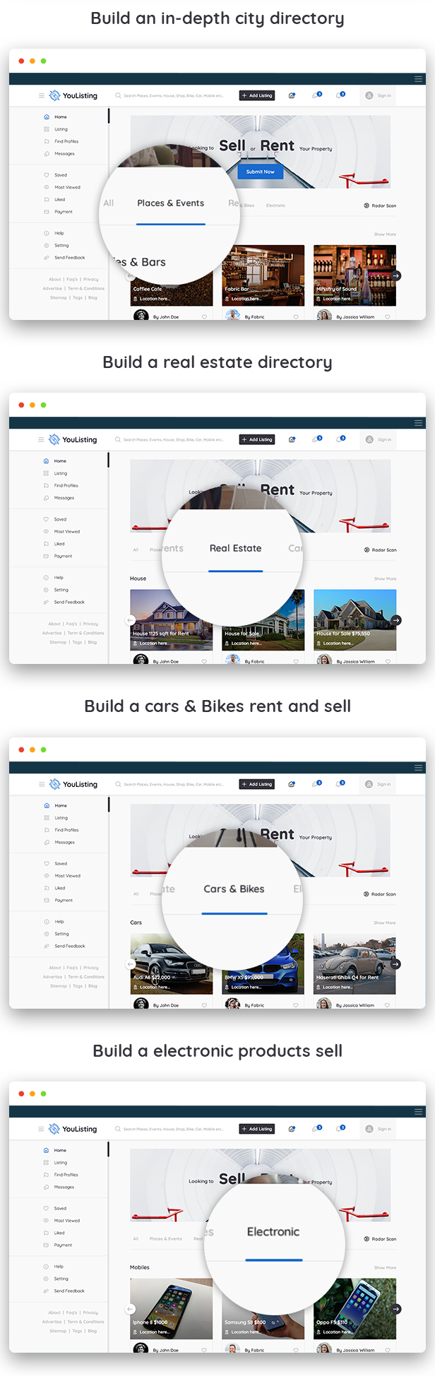 YouListing - Classified Listing and Directory Social Networking PSD Template - 2