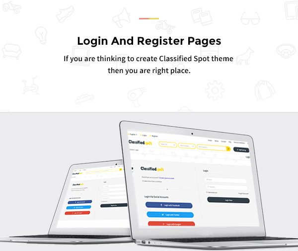 classified spot html login registter page design