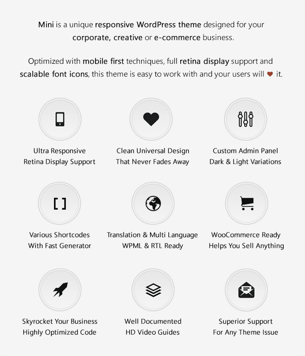 Mini is a unique responsive WordPress theme designed for your corporate, creative or e-commerce business.