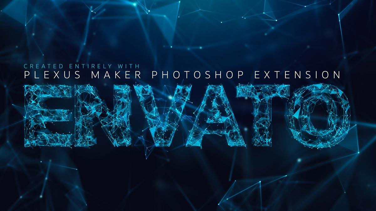 Plexus 3D text effect rendered with Plexus Maker plugin for Adobe Photoshop