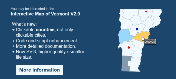 Interactive Map of Vermont - Clickable Counties