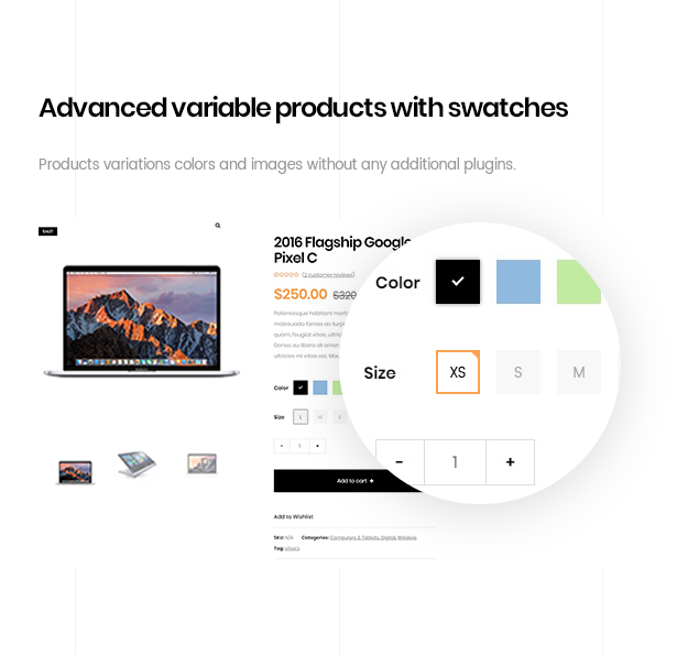 ezboozt wordpress theme advanced variable product color