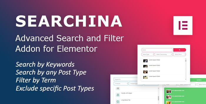 search and filter addon for elementor