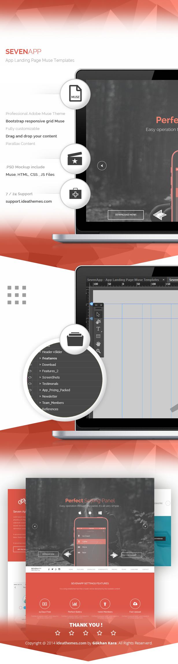 SevenApp - App Landing Page Muse Templates - 2