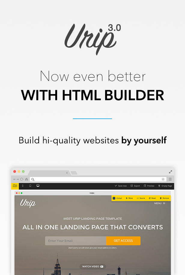 Urip Landing Page Template with HTML Builder