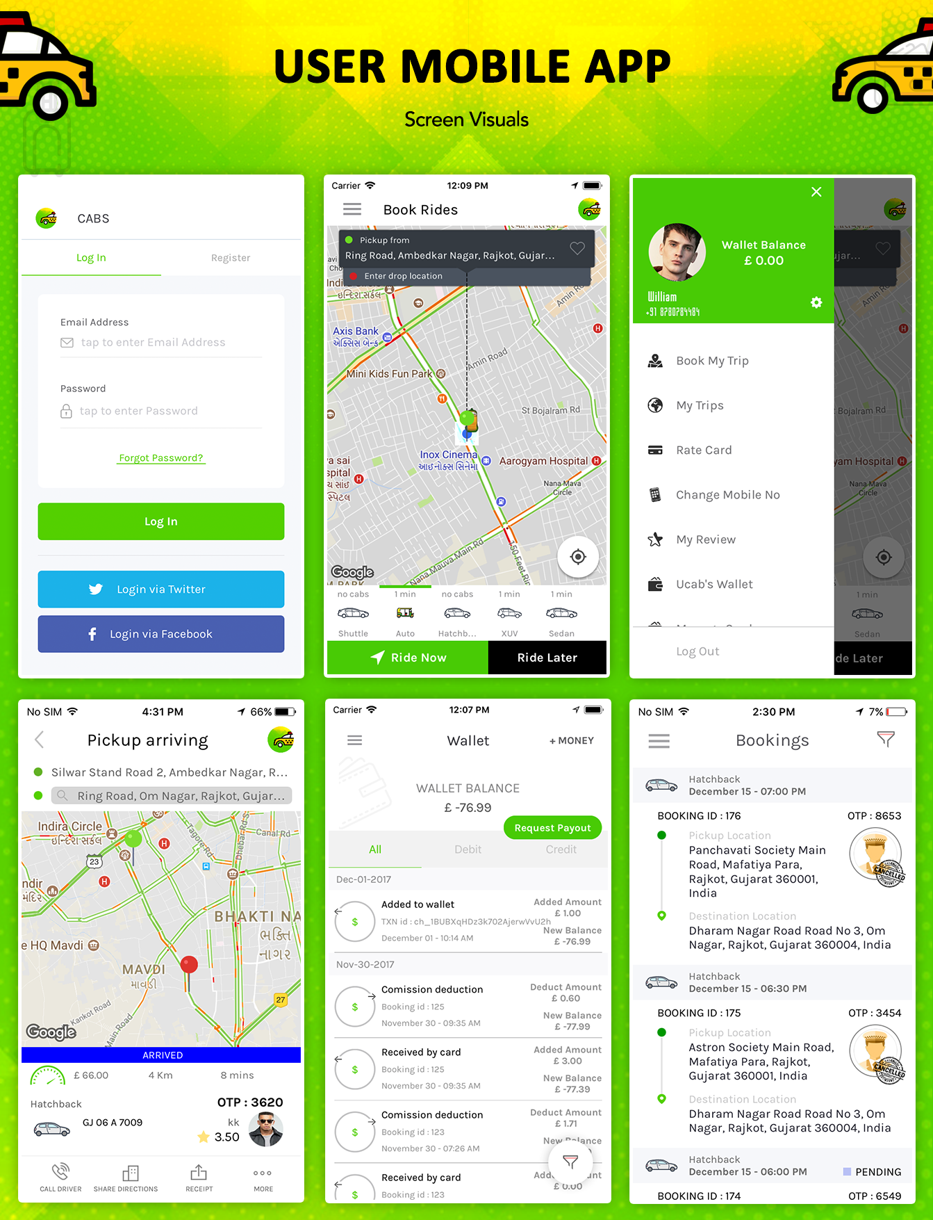 Taxi Booking Script - A Complete Clone of UBER with User,Driver & Backend CMS Coded with Native iOS - 13