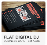 Flat Digital DJ Business Card PSD template