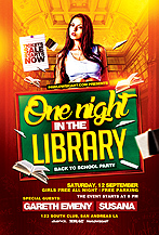 One Night in the Library - Back to School Flyer