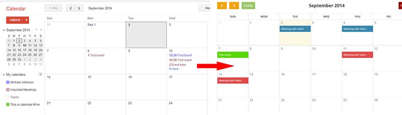 Google calendar to wordpress
