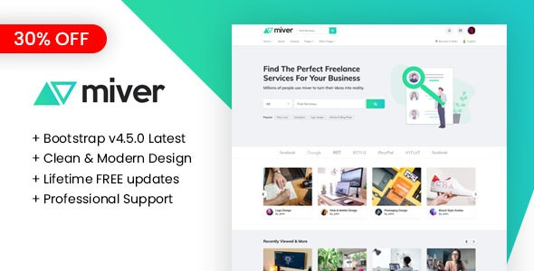 Miver - LMS & Freelance Services Marketplace for Businesses HTML Template - Corporate Site Templates