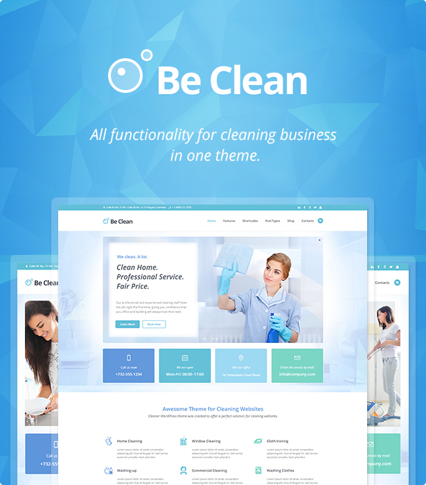 Be Clean Cleaning Company Maid Service Laundry Wordpress Theme By Cmsmasters