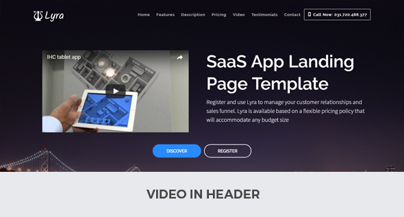 Lyra SaaS App Landing Page Multipurpose Joomla Template With Page - Video landing page templates