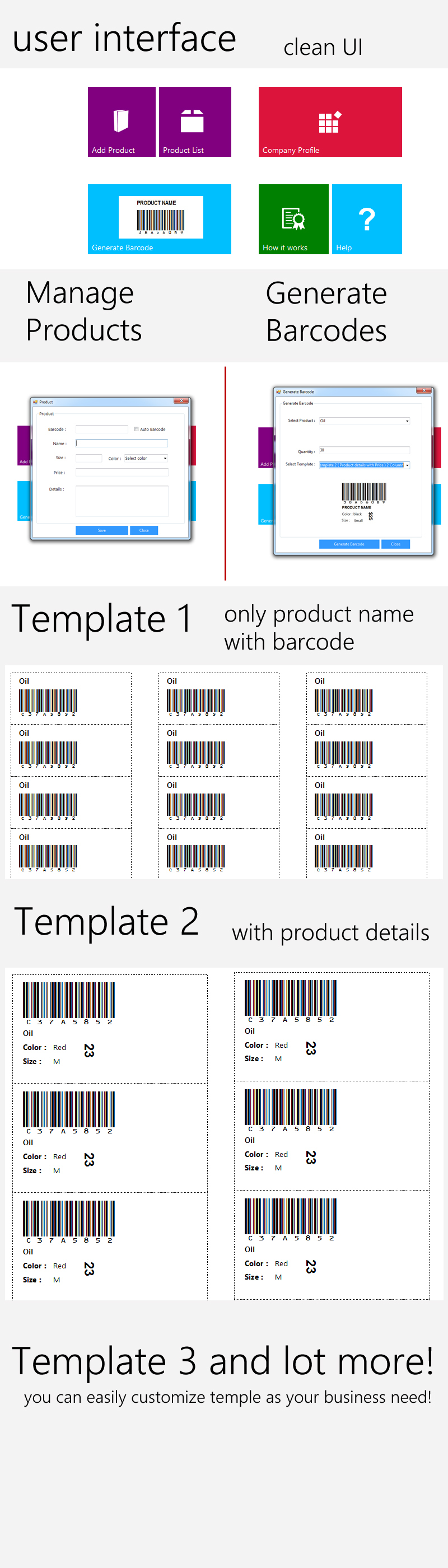 screenshoot of product barcode generator