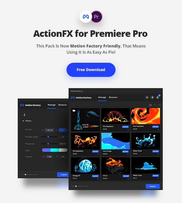 ActionFX | Fire Smoke Water Effects for Premiere Pro by Pixflow