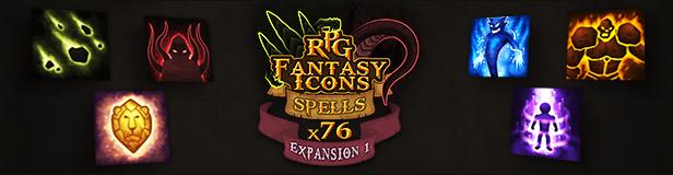 76 RPG Fantasy Spells Icons