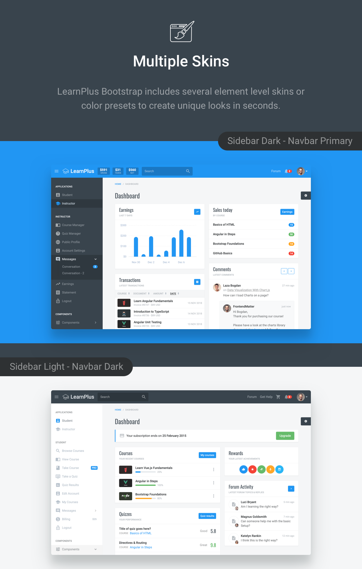 LearnPlus Bootstrap - Learning Application - includes multiple element skins
