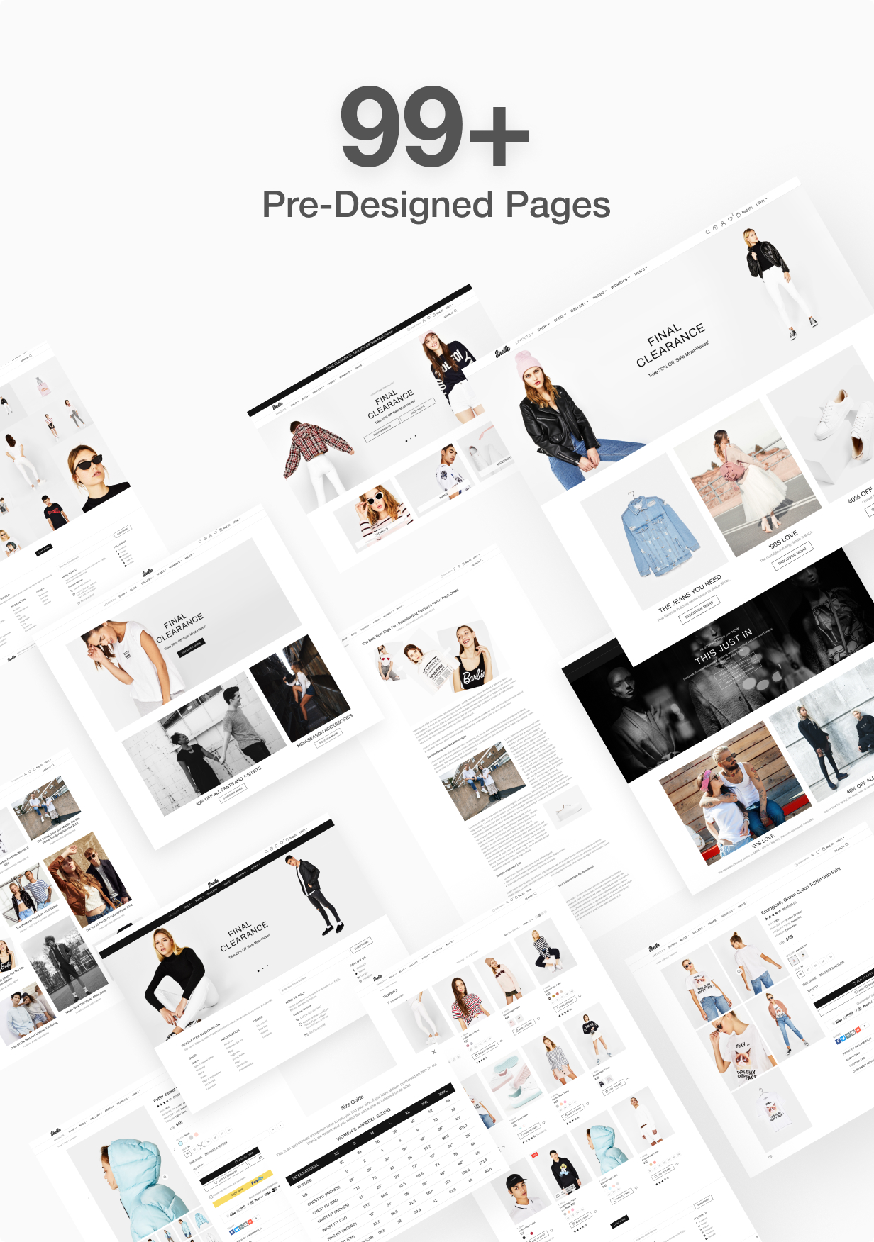 99  pre designed pages for Shella Shopify theme