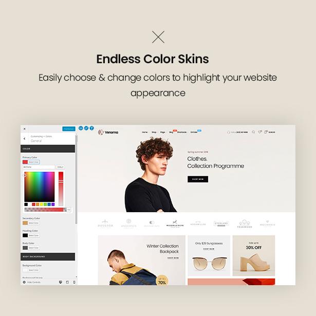 Endless Color Typos Customizer Venoma Fashion WordPress WordPress Theme