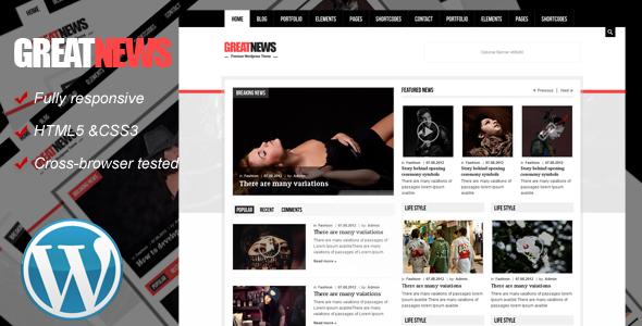 Great News Responsive Wordpress Theme - Blog / Magazine WordPress