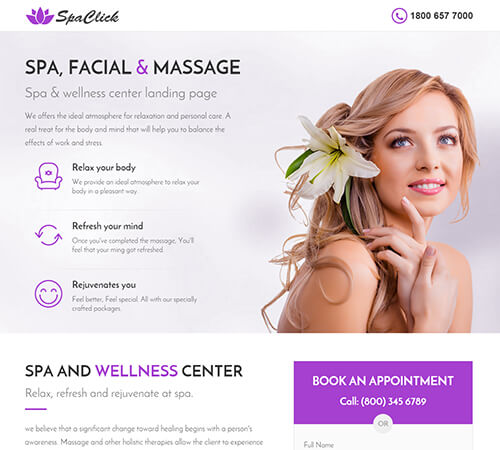 Medical Spa Yoga Fitness Landing Page Template By Surjithctly - Medical landing page template