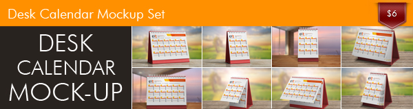 Look at Desk Calendar Mockup Set