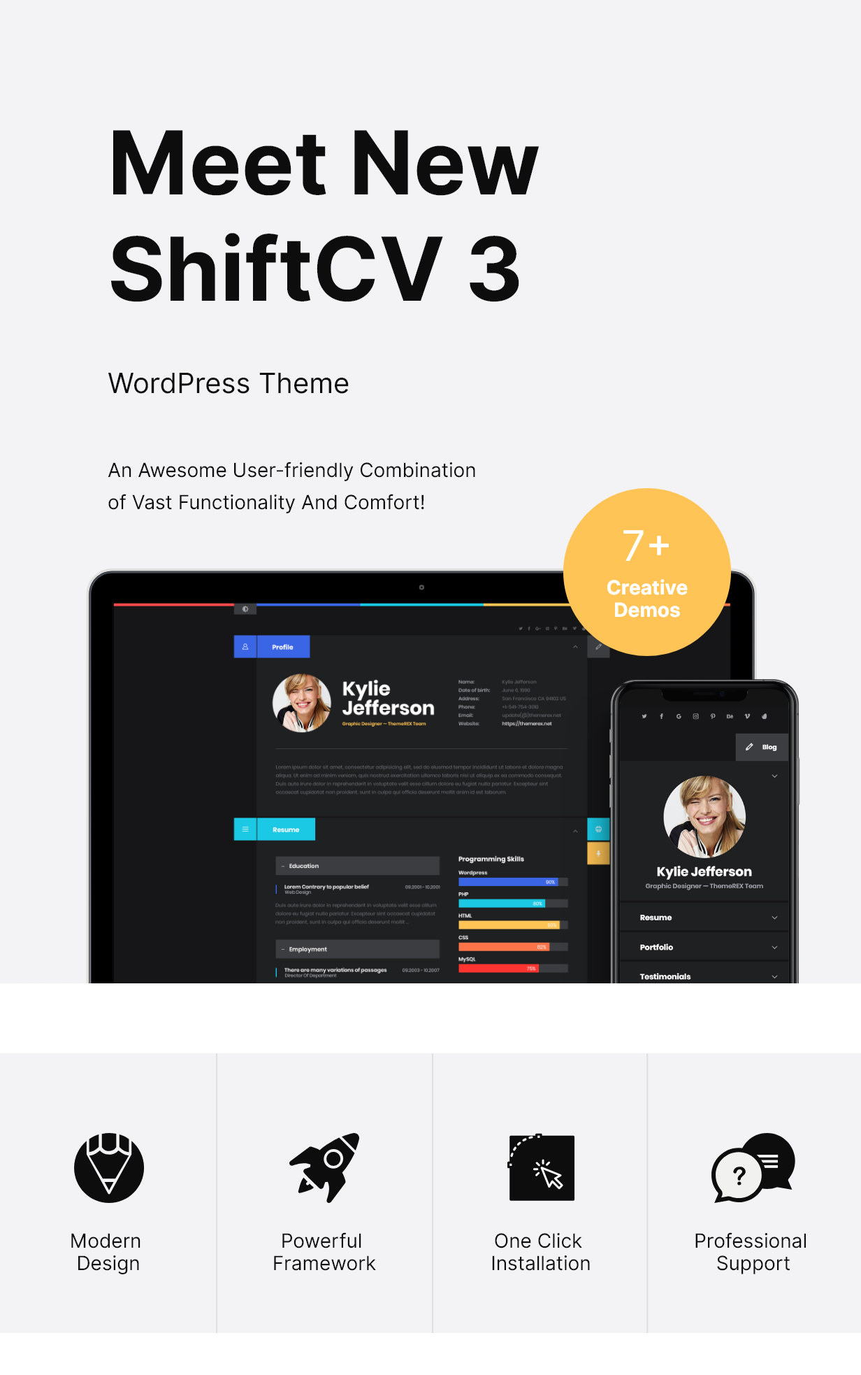 Description Blog Resume Portfolio WordPress Theme