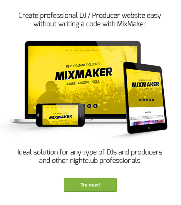 MixMaker - DJ / Producer / Music Band Website Responsive Muse Template - 1
