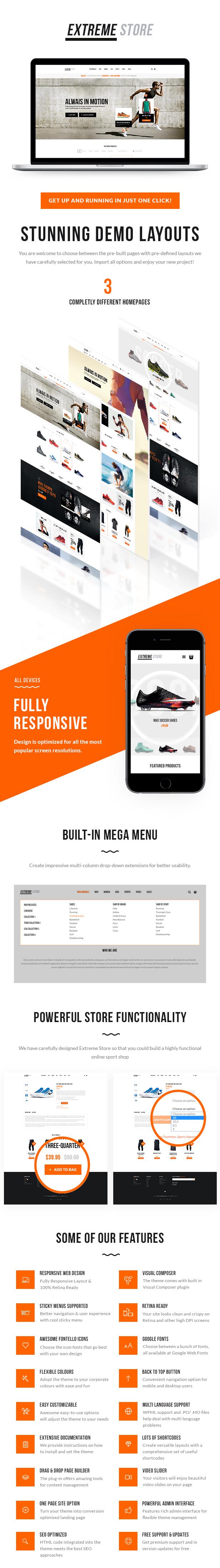 Sports Clothing & Equipment Store WordPress Theme Description