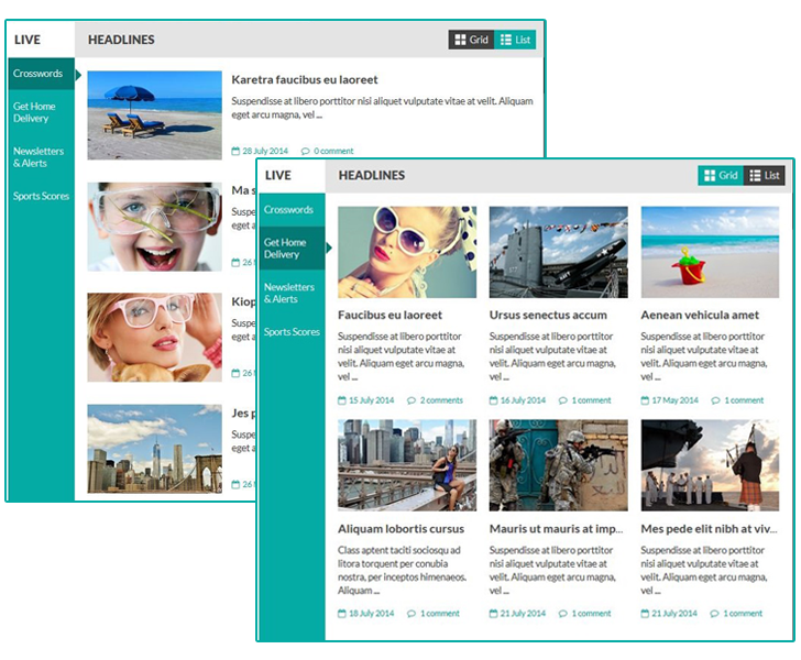 SJ Perty - grid view and list view