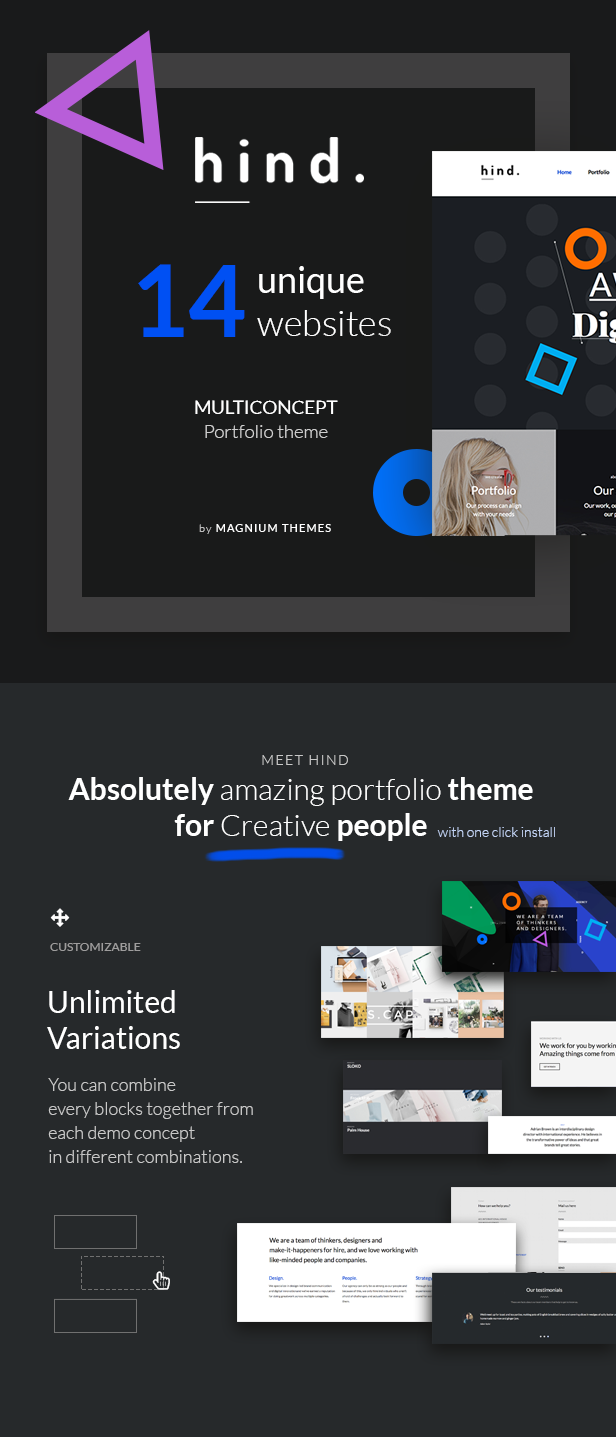 Hind - Multi-Concept Portfolio WordPress Theme by dedalx | ThemeForest