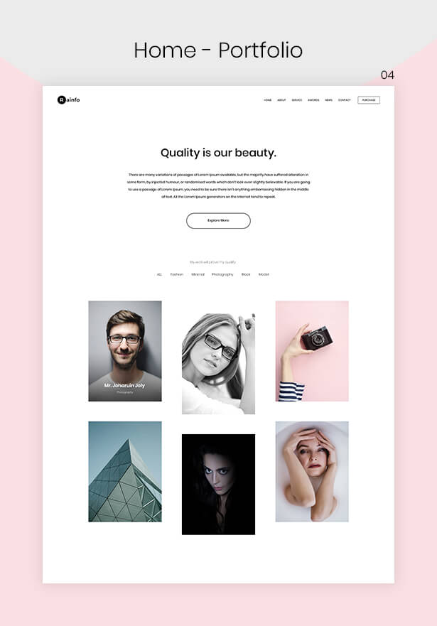 Rainfo - Minimal Creative Portfolio for Freelancers & Agencies - 5