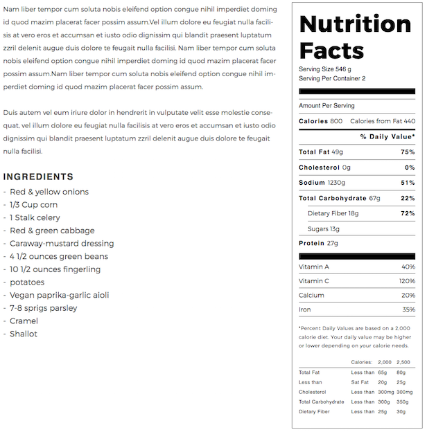 Madang WordPress theme nutrition facts calculator