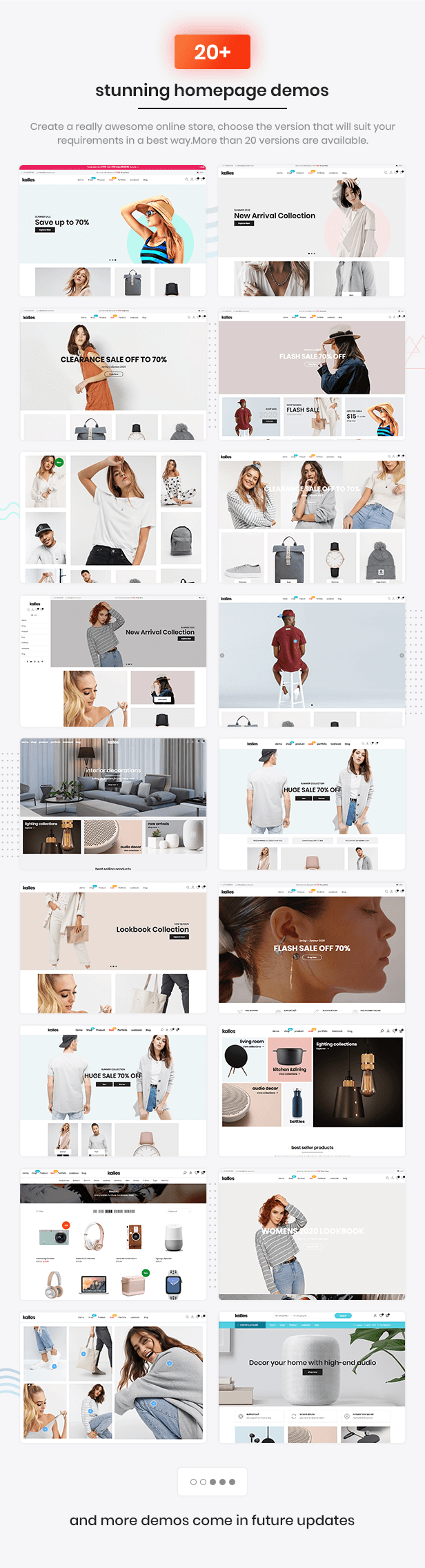 Kalles supported 20  awesome demos, the best Shopify theme