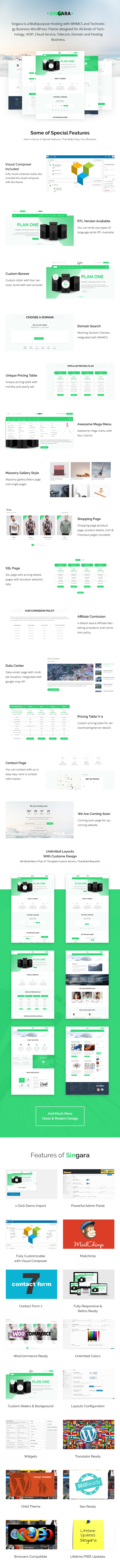 Singara - Multipurpose Hosting with WHMCS WordPress Themes