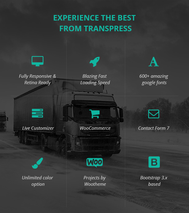 Transpress Transport Logistics and warehouse WordPress theme premium features