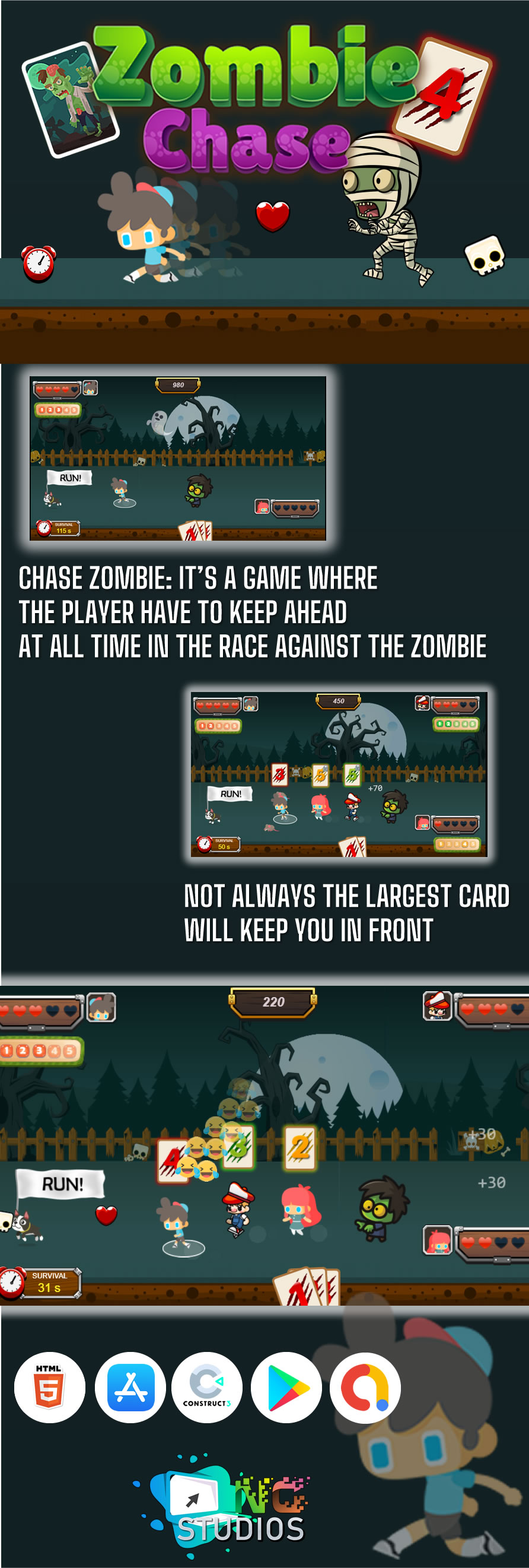 Chase Zombie - HTML5 Game (Construct 3) - 1