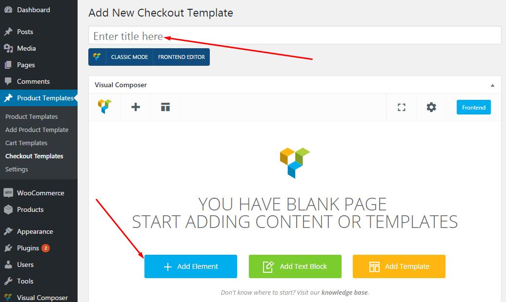 Checkout page templates