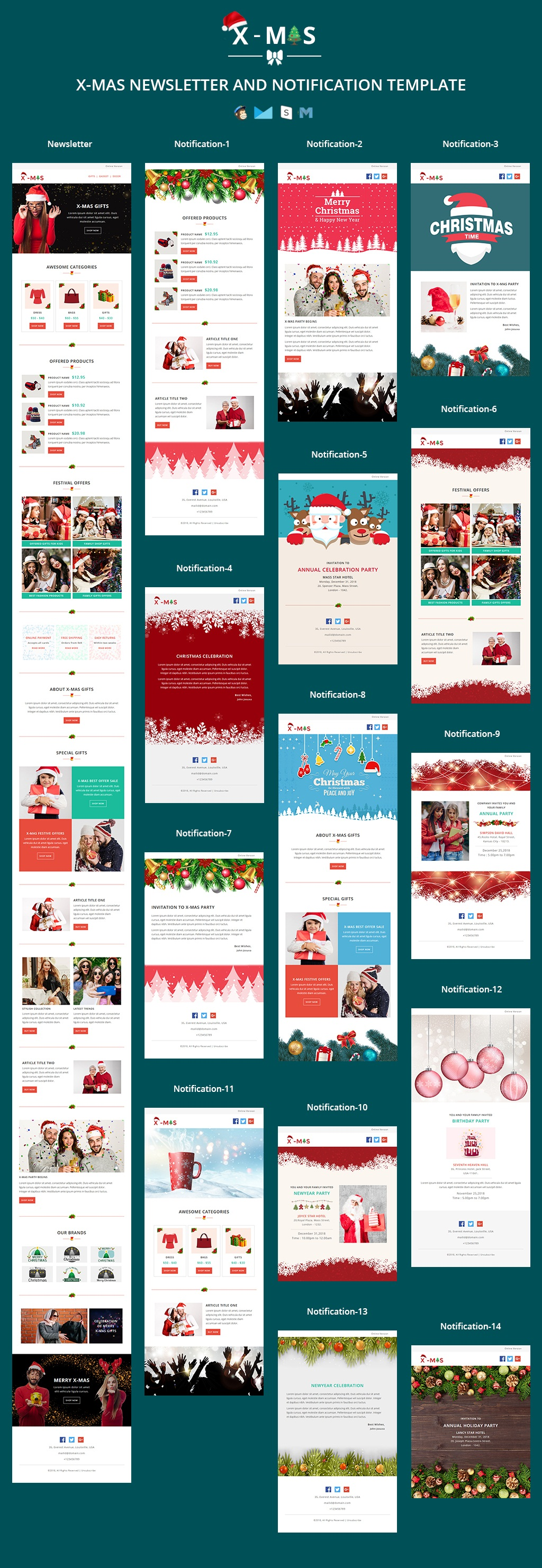 X-MAS - Responsive Newsletter and Notification Template with Stamp Ready Builder Access