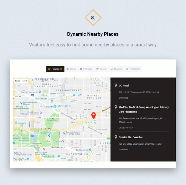 Nearby Places in HouseSang Single Property WordPress Theme