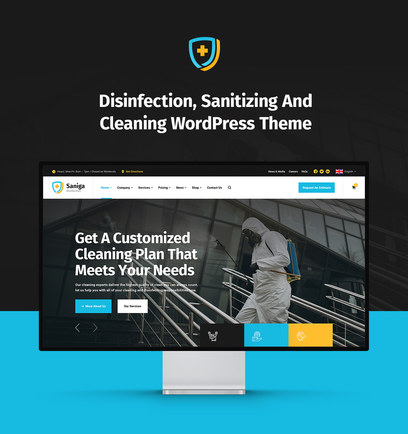 Saniga - Disinfection & Sanitizing WordPress Theme - 1
