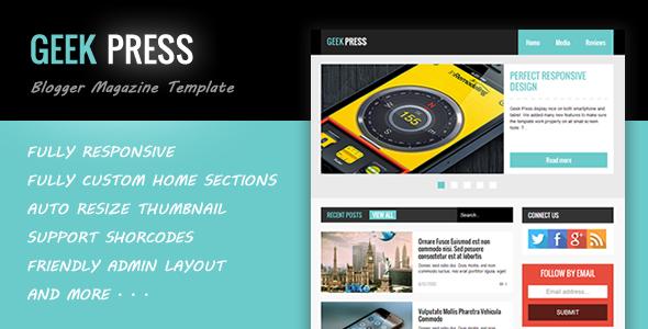 Geek Press - Responsive News & Magazine Template - Blogger Blogging
