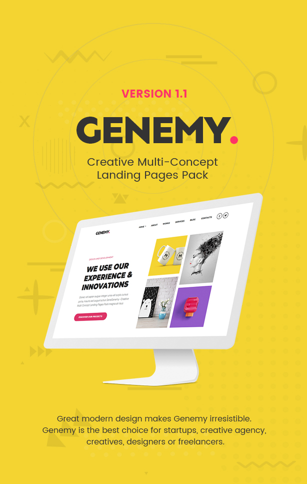 Genemy - Creative Multi Concept Landing Pages Pack With Page Builder - 1