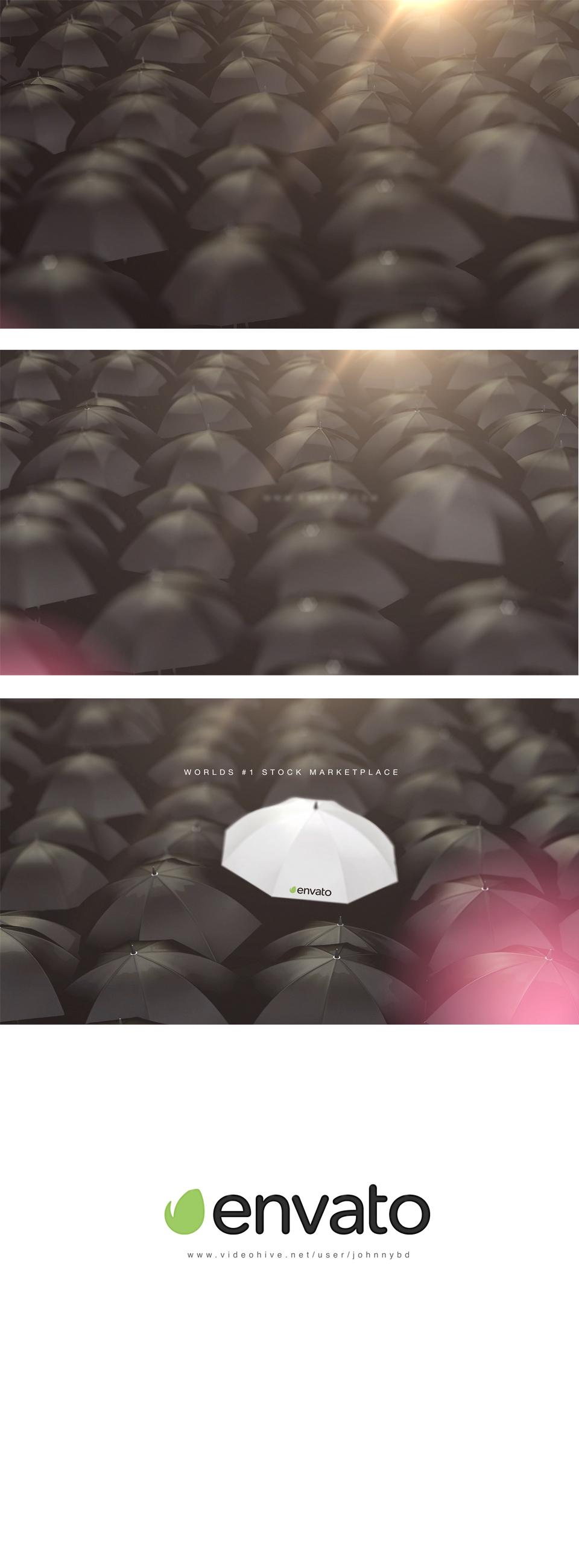 Be Unique Logo Reveal - Umbrellas - 1