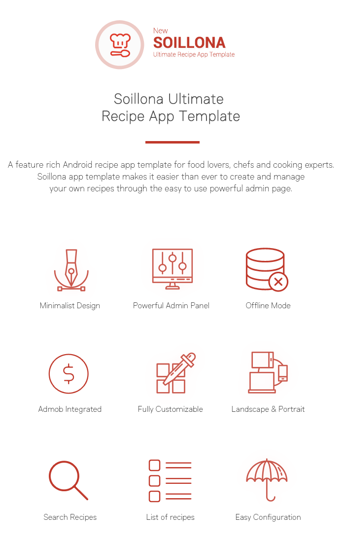 Soillona recipes app with backend by wicombit codecanyon soillona app template makes it easier than ever to create and manage your own recipes through the easy to use powerful admin page forumfinder Choice Image