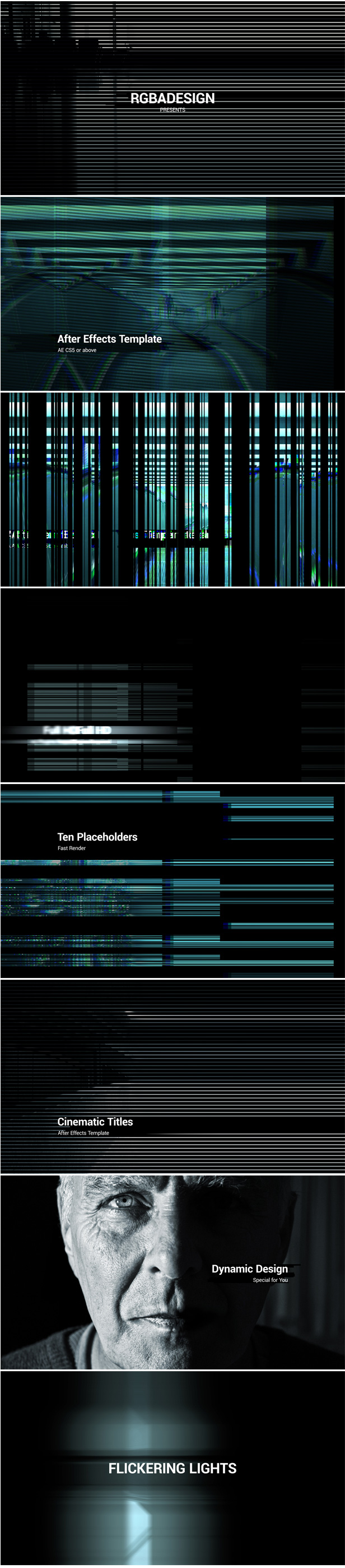 Glitch Lights After Effects Template perfect for  intro, cinematic, promo, slideshow, tv or media opener