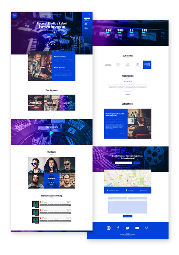 Recordings - Recording Studio / Sound Production / Music Label Responsive Muse Template - 2
